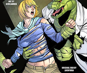 manga She Lizard, spider-man , the lizard , breast expansion  transformation